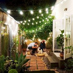 35 awesome patio yard string lights ideas outdoor and garden Back Patio, Backyard Patio, Backyard Landscaping, Landscaping Ideas, Pergola Patio, Small Pergola, Cozy Patio, Pergola Kits, Pergola Ideas