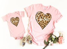 Excited to share this item from my shop: Mommy and Me Heart Shirts, Leopard Print Love Heart Shirt, Matching Valentine's Shirts Mommy And Me Shirt, Thing 1, Heart Shirt, Stylish Girl, Love Heart, Fashion Outfits, Fashion Ideas, Valentines, Shirts
