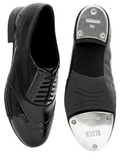 Bloch 341 Black/Black Patent Charleston Tap Shoes. Classic Oxford tap shoes with brogue detailing.