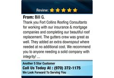 Thank you Fort Collins Roofing Consultants for working with our insurance & mortgage...
