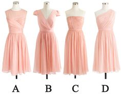 blush pink bridesmaid dresses short. Love of the the styles except B!