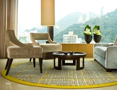In LOVE with this rug! And those chairs - and the view...