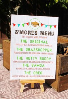 Camping Party Printable S'mores Bar Menu Sign by SweetFestivity Camping Parties, Grad Parties, Holiday Parties, Birthday Parties, 16th Birthday, Bonfire Birthday Party, Bonfire Parties, Teen Birthday, Fall Bonfire Party