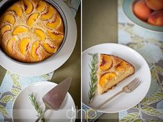 Cornmeal peach cake, from Bella Eats, photo by Andrea Hubbell