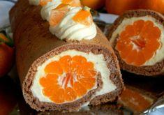 Rolat sa vanilija kremom i mandarinama — Coolinarika Mousse, Food And Drink, Rolls, Treats, Cookies, Orange, Fruit, Breakfast, Sweet