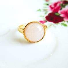 This dreamy rose quartz ring. | 26 Enchanting Gemstone Accessories You Must Buy
