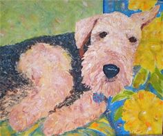 Airdale Terrier Dog Portait Painting Art by Montana Artist, painting by artist Sandra Merwin