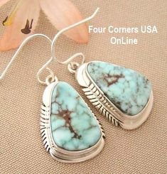 Four Corners USA Online Native American Artisan Jewelry - Dry Creek Turquoise Sterling Earrings Navajo Artisan Jane Francisco Native American Jewelry NAER-1432, $231.00 (http://stores.fourcornersusaonline.com/dry-creek-turquoise-sterling-earrings-navajo-artisan-jane-francisco-native-american-jewelry-naer-1432/)