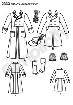 Adult Pattern: Mens Mad Hatter, Captain Costume Sewing Pattern, Simplicity 2333 [Pieces]