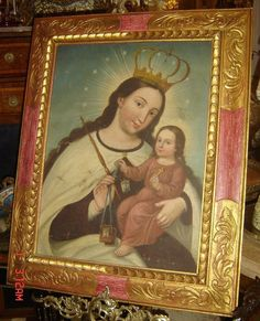 ANTIQUE CUZCO COLONIAL LARGE RELIGIOUS PAINTING MADONNA & CHILD STUNNING