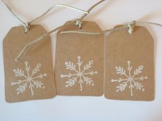 Kraft paper tags . Christmas . snowflake . snowflake gift tag . holiday gift tag . holiday . Christmas gift tag . 10 ct . embellishment. $5.00, via Etsy.