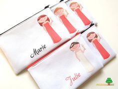Personalized bridesmaids zipper bags bridesmaids pouches wedding or bridal shower party or wedding favors or thank you cosmetic bags on Etsy, $25.00