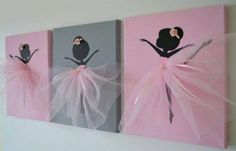 DIY Tutu Ballerina Canvas Wall Art Tutorial, with ribbons, canvas, and a ballerina template. great for girl room decoration or gift delivery Diy Wall Art, Canvas Wall Art, Wall Decor, Diy Tutu, Little Girl Rooms, Girls Bedroom, Diy And Crafts, Party Crafts, Kids Crafts