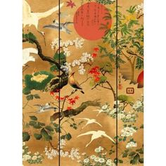 Swoop and glide alongside your feathered friends with the Mind The Gap Byobu Wallpaper. This glowing mural features a warm golden backdrop filled with a multitude of birds soaring across the sky. This mesmerising design places traditional Japanese artw Mind The Gap, Wallpaper Panels, Of Wallpaper, Pattern Wallpaper, Wallpaper Designs, Wallpaper Online, Amazing Wallpaper, Oriental Wallpaper, Asian Wallpaper