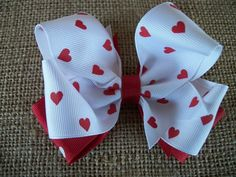SALE Toddler Hair Bow  Red Hearts on White Hearts by preciouscurls, $4.00