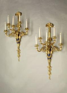 A Very Fine Pair of Antique Louis XV Style Gilt-Bronze Five-Light Wall Sconces, after the Model by Pierre Phillipe Thomire, for the Château de Saint-Cloud, Attributed to Alfred-Emmanuel-Louis Beurdeley, circa 1890. French.