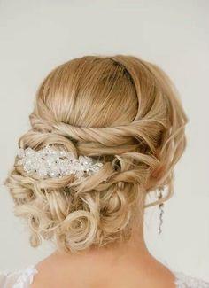 We love this beautiful bun of curls! #bridal ... | Bridal Hair & Make…