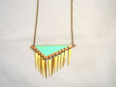 Mint Geometric Necklace, Brass and Wood Triangles Bib,Wood Tribal Necklace,Geometric Jewelry on Etsy, $29.00