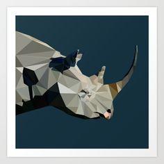 Rhinoceros, gray, black, geometric shape