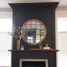 Painted Fireplace Mantels, Grey Fireplace, Paint Fireplace, Fireplace Remodel, Fireplace Surrounds, Fireplace Design, Black Fireplace Surround, Mantles, Fireplace Ideas