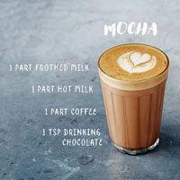 Рецепты кофе | Рецепты Джейми Оливера  Кофе Мокко или мокка.  Mocha  Мокко — «шоколадный кофе».  К эспрессо добавляется шоколадный порошок, молоко и молочная пенка.  1 чайная ложка шоколада 1 часть эспрессо 1 часть молока 1 часть пенки  Мокко — американское изобретение, навеянное Туринским кофейным напитком bicerin, который готовится из эспрессо, шоколада, молока и сливок.  В Италии или Франции как латте мокко.