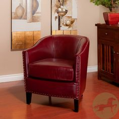 oxblood leather chair
