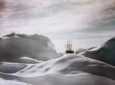 """Glimpse of the Ship ['Endurance'] through Hummocks, 1915.  Frank Hurley's famous early colour photographs of Sir Ernest Shackleton's ill-fated 'Endurance' voyage, as part of the British Imperial Trans-Antarctic Expedition, 1914-1917. Hurley was the official photographer on the expedition.  """"Early in 1915, their ship 'Endurance' became inexorably trapped in the Antarctic ice. Hurley managed to salvage the photographic plates by diving into mushy ice-water inside the sinking ship in October…"""