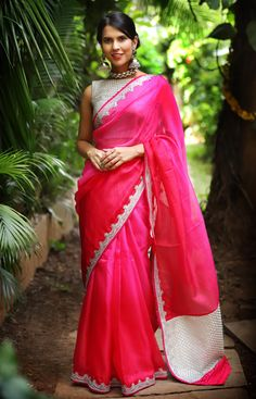 53d3ae1b676635 Pink shaded chanderi kota with silver stone work border and silver  threadwork pallu #saree #