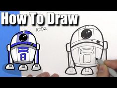 How To Draw Cute Cartoon R2D2 Droid - EASY Chibi - Step By Step - Kawaii - YouTube