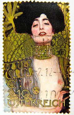 "great stamp Austria € 2.10 ""Judith I"" Gustav Klimt postage timbre Autriche erotic art painting почтовые марки Австрия selo sello € 2,10 210c francobollo Austria postzegel Oostenrijk طوابع النمسا frimærker østrig markica Austrija टिकटों ऑस्ट्रिया € 2.10 by stampolina, via Flickr"
