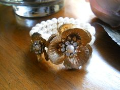 Vintage Costume Pearl Bracelet with Gild by BohemianGirlVintage, $28.00