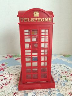 Vintage red plastic telephone booth bank by JanetsVintagePlanet