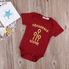 """Grandmas Keeper"" Onesie  From 4 Privet Drive to the Great Hall at Hogwarts your little one will look great in our Grandma's Keeper onesie. Choose anything you love from our Harry Potter collection on your way to platform 9 3/4's!  www.babypotter.com"