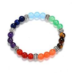 Handmade 7 Chakra Semi-Precious Gemstone Beads Bracelet