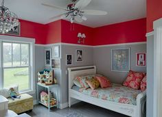 Paint color ideas for a kids bedroom - the two-tone red and gray color looks sharp