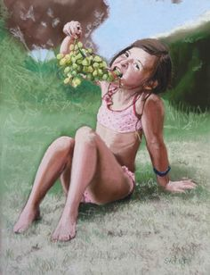Sunshine and grapes - Paintings Grape Painting, Children, Kids, Sunshine, Rest, Pastel, Paintings, Play, Fictional Characters