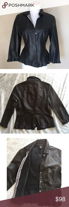 | new | BCBGMaxAzria Black Leather Ruffle Jacket Incredible 100% leather jacket with snap button closure. Ruffled hem and sleeve edges.   ✔️If you'd like to MAKE AN OFFER please do so through the offer button ONLY. I won't negotiate prices in the comments.  ✔️All items $15 and under are firm unless BUNDLED.  ❌No trades, PayPal, Holds 📷Instagram: @lovelionessie BCBGMaxAzria Jackets & Coats Blazers
