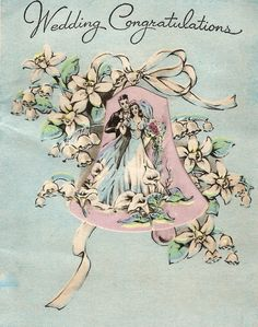 Vintage Wedding Congratulations Bride And Groom Newlyweds Card Digital Download Printable Instant Image