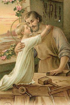São José e o Menino Jesus na Oficina do pai.