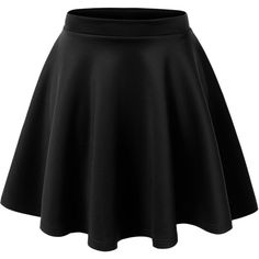 LE3NO Womens Basic Versatile Stretchy Flared Skater Skirt at Amazon... (€6,37) ❤ liked on Polyvore featuring skirts, stretch skirts, flared skirt, flare skirt, skater skirts and flared hem skirt