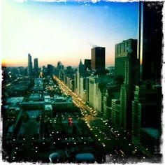 Day 1 - Chris Petlak took this shot of Millennium Park and Michigan Avenue, facing south.    http://thelocaltourist.com/100daysofchicago