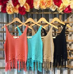 These crochet tops  In-store now! { $34.00 each } Great weight fringe and super soft!  #crochet #crochettop #boho #festival #festivalfashion #wiw #wiwt #summervibes #fringe #casual #everyday #ootd #vacation #taupe #coral #turquoise #black by shopbowandarrow