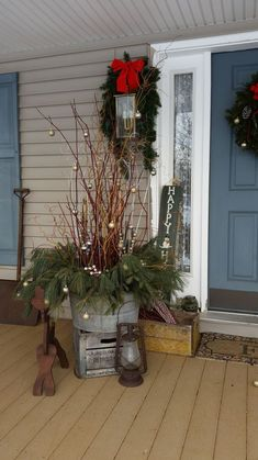 How I Dressed up My Front Porch for Christmas and the Winter Season. Front Door Christmas Decorations, Christmas Planters, Christmas Porch, Farmhouse Christmas Decor, Rustic Christmas, Holiday Decor, Cheap Christmas, Front Porch Ideas For Christmas, Outdoor Xmas Decorations