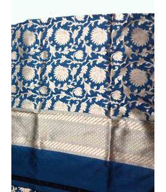 Blue Banarasi Silk Dupatta Silk Dupatta, Silk Sarees, Saree Dress, Sari, Buy Earrings, Buy Sarees Online, Colorful Party, Bindi, Varanasi