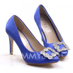 $11.40 Party Women's Satin Pumps With Luxurious Rhinestones Square Buckle Design