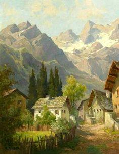 Fantasy Landscape, Landscape Art, Landscape Paintings, Beautiful Paintings, Beautiful Landscapes, Watercolor Landscape, Watercolor Art, Mary Cassatt, Cottage Art