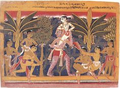 Balarama Carried By The Demon Pralamba. Page from the a dispersed Bhagavatta Purana, Manuscript, Opaque watercolor on paper, India, Agra-Dehli area ?, c. 1560-65