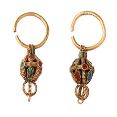 A Pair of Gold Turquoise and Amber Earrings   Tang Dynasty   7th Century