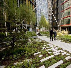 The aspen trees against the building, the proximal pines and the jagged sidewalk create the impression of a large green space from a small pocket garden. NEO Bankside / Rogers Stirk Harbour + Partners