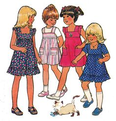 70s Vintage Toddlers Pattern Style 2304 by allthepreciousthings Use the top of striped on in pinafore pattern I have